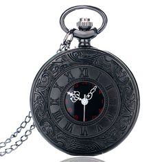 2017 New Roman Numeral Quartz Pocket Watch Steampunk Black Gift Love  Product Features:     Diameter: about 4.8 cm Thickness: about 1.5 cm Total Chain Length: about 80 cm Package content: 1 x Pocket Watch 1 x Chain