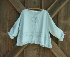 linen top flare with ruffle tucking and a rose in by linenclothing, $125.00