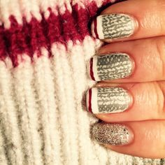 Sock nails! Maybelline Bare Escape stamped with Sephora by OPI Break a Legwarmer and Vivid Lacquer plate VL025. Stripes done with OPI Angel With a Lead Foot and Lost in Lombard. Glitter is OPI liquid sand It's Frosty Outside