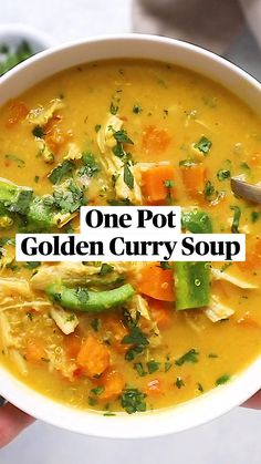 Healthy Soup Recipes, Delicious Vegan Recipes, Lunch Recipes, Vegetarian Recipes, Cooking Recipes, Tasty, Chicken Curry Soup, Eating Light, Man Food