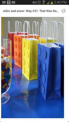 Lego party favor bags for boy's birthday party