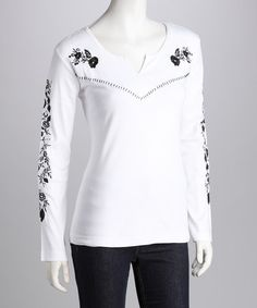 Take a look at this Pink Cattlelac White & Black Flower Long-Sleeve Tee by Pink Cattlelac on #zulily today!