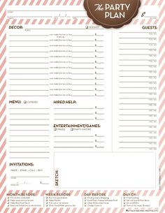 Free printable for party planning. So helpful! From Life on Paper.