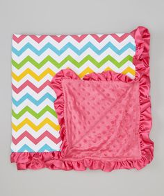 Look at this Barefoot Children's Clothing Rainbow Zigzag Minky Stroller Blanket on #zulily today!