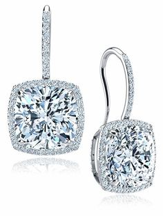 Dosier 8 5 Carat Cushion Cut Cubic Zirconia Pave Halo Drop Earrings In 14k White Gold By