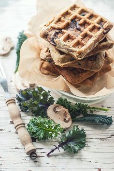 Rye Waffles with Mushrooms & Kale by The Gouda Life