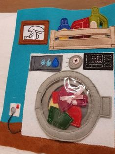 Quiet Book Page of Laundry and Washing Machine. Dress, Pants and Socks, and for sure laundry detergents!!