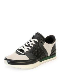 Woven+Leather+Running+Sneaker,+Black/White+by+Bottega+Veneta+at+Neiman+Marcus.