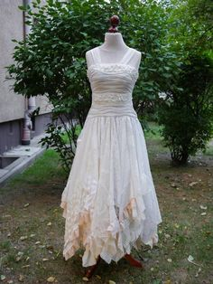 Upcycled Wedding Dress Fairy Tattered Romantic Dress Upcycled Woman's Clothing Shabby Chic Funky Eco Style MADE TO ORDER