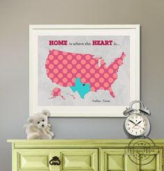 "Kids wall art USA MAP  Poster Print 11""x14"" , Colorful Personalized Map Art for Children, Nursery art"