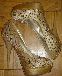 ALBA Gold Bling Sparkled Bedazzled Jewled Shoes 5 Inch Heel Platform Size 7 1/2 #Alba #PlatformsWedges