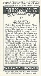 1938 W.A.& A.C Churchman #12 P. Doherty Back