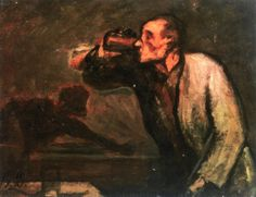 honore daumier, Billiard Players (also known as The Drinker), n.d.
