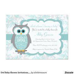 Owl Baby Shower Invitations, Aqua, Gray - 930 Card