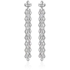 Bochic Diamond and White Sapphire Long Cascade Earrings (805,845 THB) ❤ liked on Polyvore