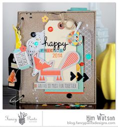Happy Friends mini album by Kim Watson using the True Friend Collection from FancyPantsDesigns.com and a chipboard album and bling from Want2Scrap.com