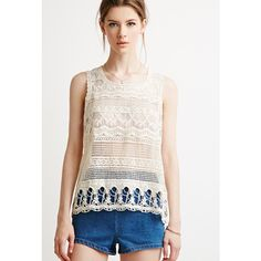 Love 21 Women's  Contemporary Lacy Crochet-Paneled Top ($16) ❤ liked on Polyvore featuring tops, white sleeveless top, crochet lace tank top, lace back tank, crochet tank and floral tank top