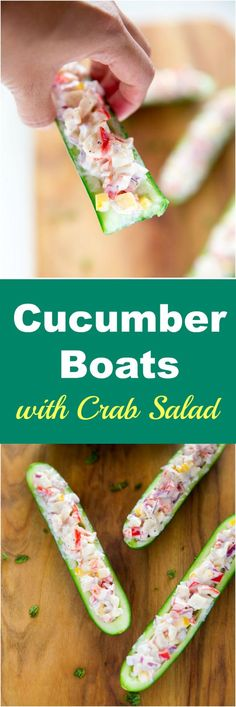 Cucumber boats with crab salad is an easy, quick and super versatile dish. It's perfect for a light lunch, snacks or as a party finger food. Seafood Recipes, Appetizer Recipes, Cooking Recipes, Party Appetizers, Keto Recipes, Healthy Recipes, Comida Picnic, Boat Food, Salsa