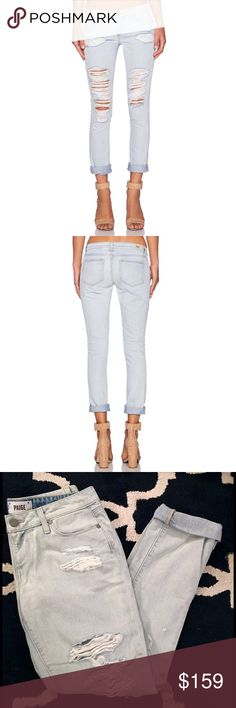"PAIGE Light Wash Skinny Distressed Boyfriend Jeans Paige Denim 'The Jimmy Jimmy Skinny' in 'Sawyer Deconstructed'. Boyfriend jean that's part slouchy through the thigh and leg, and part slim through the waist and hip. This pair comes in a super light wash with heavy distressing that reveal two stylish striped pocket linings. Finished with a zip fly, single-button closure, and Paige brand patch. 100% Cotton. Size 26/26"" Waist, 8.5"" Rise, 31"" Inseam. Brand New with Tags. Paige Jeans Jeans…"