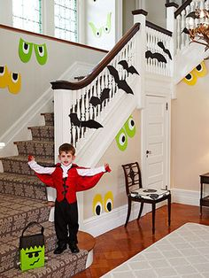 Yes I am decorating our stair way with this idea for the year.  I can't wait!  Googly eyes and bats will compliment the scaredy cat and moon silhouettes I do in the entry window.