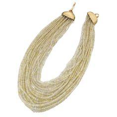 18K Gold, Diamond, and Apatite Bead Necklace, Angela Pintaldi Estimate 5,000 — 7,000