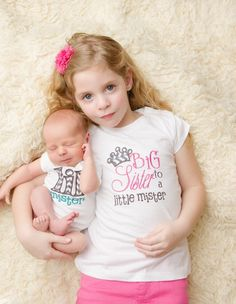 Matching Sibling Shirt Set  'Big Sister to a Little Mister' and 'Lil Mister'