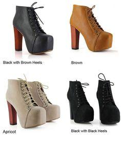 HOT Women Ladies Fashion Lita platforms high heels Lace Up boots Ankle shoes #GL #PumpsClassics