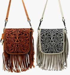 fr@ loves this pin🌟Tante S!fr@ loves this pin Montana West Handbag Genuine Leather Tooled Fringe Crossbody Bag Pick Color Cheap Purses, Cute Purses, Purses And Bags, Tooled Leather Purse, Leather Tooling, Leather Purses, Montana, Fringe Crossbody Bag, Fringe Purse