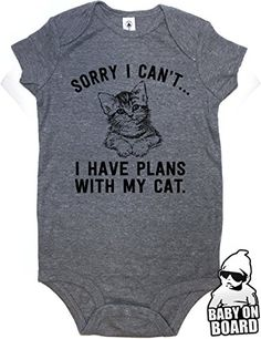 Daft Baby ~ Sorry I Can't... I Have Plans With My Cat Funny Baby Shower Gift Baby Onesie Graphite (3-Months). For product info go to: https://all4babies.co.business/daft-baby-sorry-i-cant-i-have-plans-with-my-cat-funny-baby-shower-gift-baby-onesie-graphite-3-months/