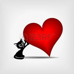 beautiful black kitty holding tilted big red heart on gray background - illustration photo
