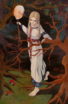 """agadixit: """" An illustration for a Russian fairy tale Vasilisa the Beautiful. Art by me. Character Inspiration, Character Art, Arte Obscura, Witch Art, Art Moderne, Russian Art, Tolkien, Larp, Aesthetic Art"""