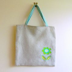 *SOLD* Linen Tote Bag Reversible Vintage Cotton by Anneatcountrybazaar