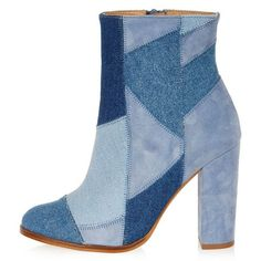 River Island Blue denim patchwork heeled ankle boots ($180) ❤ liked on Polyvore featuring shoes, boots, ankle booties, ankle boots, blue, shoes / boots, women, block heel booties, blue ankle boots and short boots