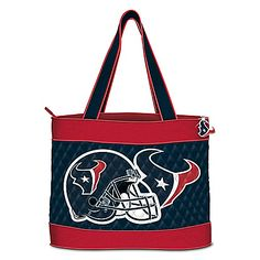 Houston Texans Tote Bag With Accessory Case Football Quilt, Texans Football, Football Helmets, Quilted Tote Bags, Reusable Tote Bags, Houston Texans Logo, Blue Canvas, Canvas Sneakers, Accessories