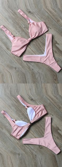 Two Piece Sexy Fashion Bikini, Cheeky High Leg Cut Bikini Bottom,   Pink Solid Bikini 2017,  A sliding-hook Closure On the Back