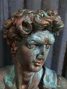 Modern Masters Metal Effects Copper and Verdigris on a bust PLUS giveaway! Be sure to enter for your chance to win Modern Masters products | Giveaway ends 6/6/14 | By A to Z Custom Creations