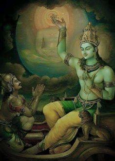 arjuna-vallabha: Krishna speaks the Bhagavad Gita to Arjuna