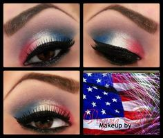 easy of july eye makeup * if july eye makeup ; of july eye makeup ideas ; of july eye makeup red white blue ; easy of july eye makeup ; eye makeup of july ; patriotic eye makeup of july Pretty Eye Makeup, Love Makeup, Makeup Tips, Makeup Looks, Makeup Tutorials, Makeup Ideas, Fun Makeup, Video Tutorials, Cheer Makeup