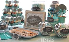 "Turquoise and Gray Elephant 'Babies Are Sweet So Take Some Treats' 8""x10"" Baby Shower Favor Sign for Candy/Dessert Table"