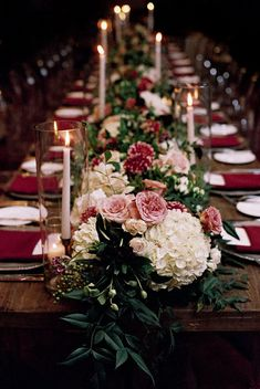 2019 Most Popular Wedding Colors for Fall and Winter--marsala/burgundy wedding centerpieces with hydrangeas and greenery, rustic wedding receptions with candles, vintage wedding details Unique Wedding Centerpieces, Wedding Table Centerpieces, Wedding Flower Arrangements, Flower Centerpieces, Wedding Decorations, Table Wedding, Flower Runner Wedding, Wedding Table Runners, Centerpiece Ideas