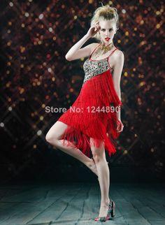 2014 Tassel Paillette Tight Women's Dress Short Design Slim Dance Skirt Clothes Latin Dance Dress 1333 Free Shipping $38.65