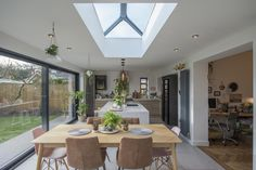 Staffordshire Bungalow Kitchen Extension - Transitional - Dining Room - Other - by DJB Photography Kitchen Extension With Roof Lantern, Kitchen Extension Open Plan, Kitchen Extension Bungalow, Bungalow Interiors, Bungalow Renovation, Open Plan Kitchen Dining Living, Living Room Kitchen, Home Design, Modern Bungalow Exterior