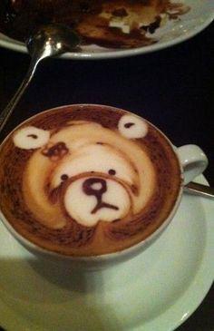 Bear Latte Art Coffee Latte Art, Coffee Is Life, I Love Coffee, Coffee Cafe, Coffee Break, My Coffee, Coffee Shop, Chocolate Cocktails, Coffee Design