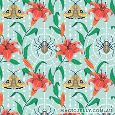 Day Lily print, part of the Lilium collection, by Magic Jelly on Spoonflower Day Lilies, Surface Design, Custom Fabric, Spoonflower, Jelly, Gift Wrapping, Magic, Patterns, Wallpaper