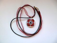 Embroidered necklaceEmbroidered pendant Red by KoserowaHandMade