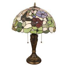 Lampe - Chambre à Coucher - 16 inch Lampe de table style rétro européen Abat-jour en verre à motif de fleur et papillon luminaire pour salon chambre salle à manger