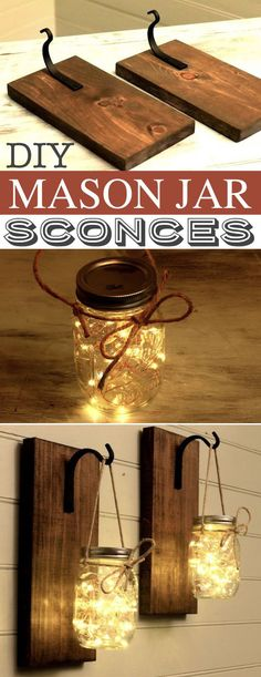 DIY Mason Jar Sconces -- A lot of DIY mason jar crafts, ideas and projects here! Some really great home decor and gift ideas. Listotic.com (farmhouse christmas dyi crafts)