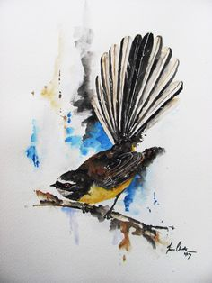 I have this painting - lovely. Fantail watercolour / illustration / tattoo www.fiona-clarke.com