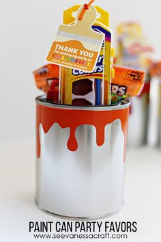 DIY Fun Paint Can Party Favors - perfect for a kid's birthday party, art party, special event & more (made with my Silhouette & vinyl)