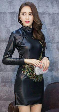 Black Skirt Dresses Leather Pu Leather Leather Leather Boots Cheongsam Leather 4Xgxg